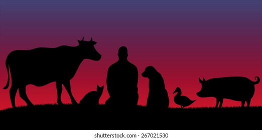 Silhouettes of man with many animals with violet background