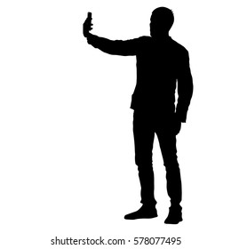 Silhouettes man taking selfie with smartphone on white background. Vector illustration
