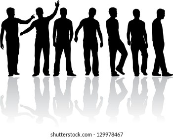 Silhouettes of a man. Vector work.