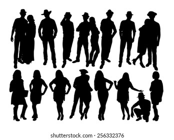 The silhouettes of man and woman