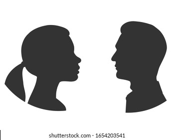 Silhouettes of man and woman face to face. Outlines of people in profile. Vector illustration