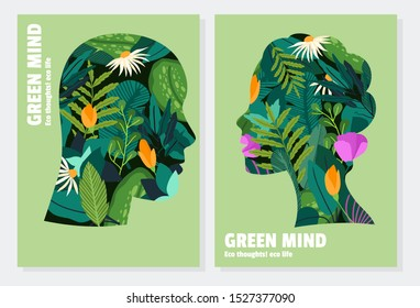 Silhouettes of man and woman, with flowers and vegetation inside them. Green thinking concept, card design. Creative fantasy thinking vector illustration. Nature, save the earth. Flower pattern.