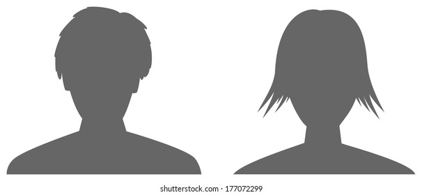silhouettes of man and woman head / the woman and man icon / the pair