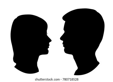 Silhouettes of man and woman, head, profile, vector, black color, isolated on white background