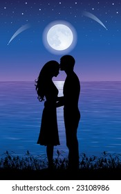 Silhouettes of man and woman hugging and kissing at night time.  On the background full moon and stars over the sea.