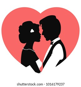 Silhouettes of man and woman merge into kiss for Valentines Day. Silhouettes of loving couple. Vector Illustration for invitation, greeting card and different design project