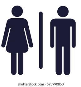 silhouettes of man and woman showing water closet area (WC)