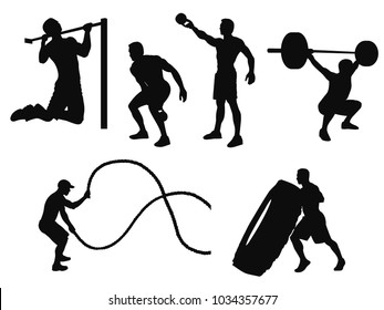 Silhouettes of man working out and crossfit training with different equipment isolated on white.