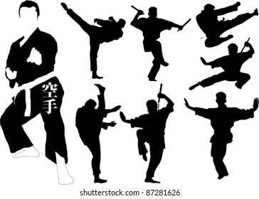Silhouettes of martial arts fighters. Vector illustration;