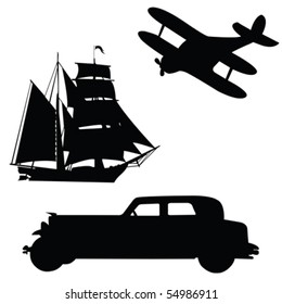 Silhouettes of means of transport