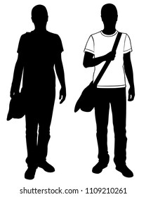 silhouettes of men with bag on shoulder