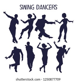 Silhouettes of men and women dancing swing in different poses. Vector illustration