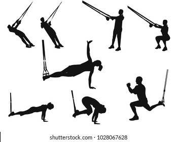 Silhouettes of men and women doing TRX exercises with ropes isolated on white background.