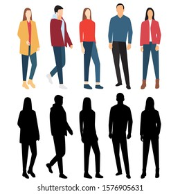 Silhouettes of men and women in outerwear with different colors, cartoon character, group of standing and waiking business people, flat icon design concept isolated on white background.