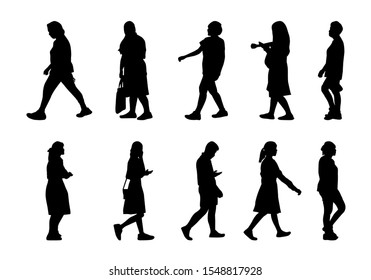 Silhouettes men and women set on white background, Collection people silhouettes walking, Isolate shape group girl and boy, Shadow different human illustration