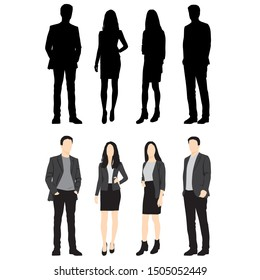 Silhouettes of men and women standing, cartoon character, group business people, vector illustration, flat designe icon, isolated on white background