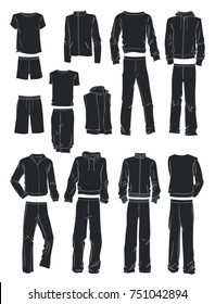 Silhouettes of men's sportswear isolated on white background