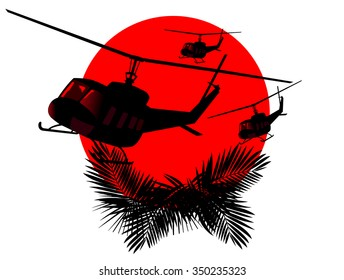silhouettes of military helicopters on a background of red sun. abstract vector illustration