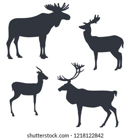 Silhouettes of a moose, a deer, a gazelle and a caribou isolated on white background. Vector illustration EPS 8