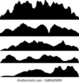 Silhouettes of the mountains, highlands, rocky landscapes, hills. Panoramic vector illustration