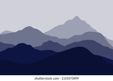 Silhouettes of mountains. Landscape with blue misty. Vector illustration.