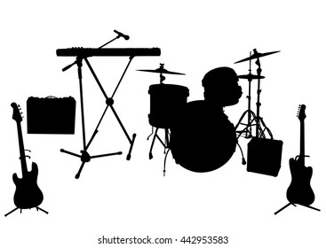 Silhouettes of musical instruments isolated on white background. Vector illustration