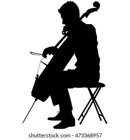 Silhouettes a musician playing the cello. Vector illustration.