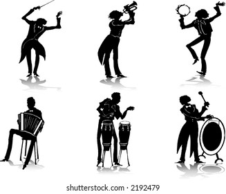 Silhouettes of musicians (2)