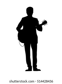 Silhouettes of musicians with guitar. Vector illustration
