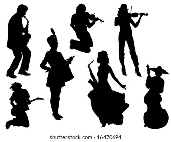 Silhouettes of musicians with tools in various situations