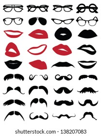 Silhouettes of  mustache, glasses and lips-vector