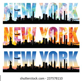 Silhouettes of New York most famous landmarks with colorful sky forming the word. Editable vector illustration with elements as separate objects. Airplane can be (re)moved.