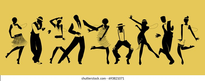 Silhouettes of nine people dancing Charleston. Vector Illustration