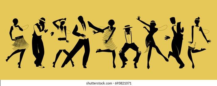 Silhouettes of nine people dancing Charleston. Vector Illustration