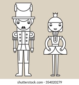 Silhouettes of nutcracker soldier and ballerina on light grey background, isolated.