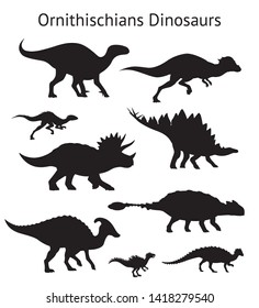 Silhouettes of ornithischian dinosaurs. Set. Side view. Monochrome vector illustration of black silhouettes of dinosaurs isolated on white background. Ornithischia. Proportional dimensions.