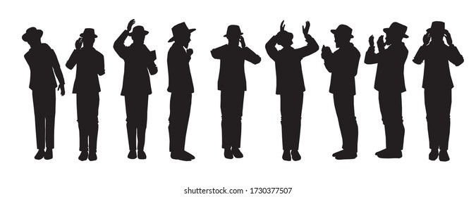 Silhouettes of Orthodox Jewish chassidim praying and crying. With a hat and a suit. Each character takes a different action: begging, calling in the arrangement, punching his heart, raising his hands.