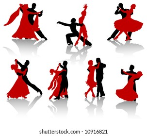 Silhouettes of the pairs dancing ballroom dances. A waltz, a tango, a foxtrot.