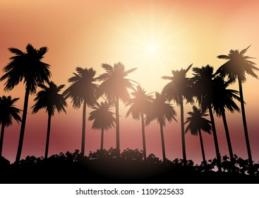 Silhouettes of palm trees against a sunset sky