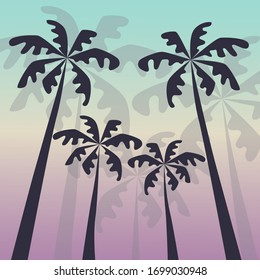 Silhouettes of palm trees on a bright background. Create a warm atmosphere of relaxation and the tropics. Suitable for summer decor.