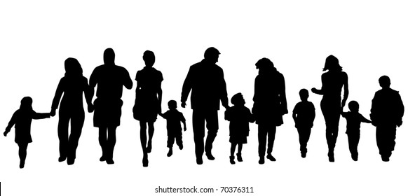 Silhouettes of the parents and children on a background