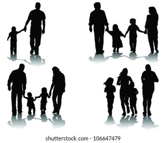 Silhouettes of parents with children, vector
