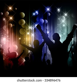 Silhouettes of party people on a disco lights background