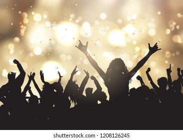 Silhouettes of party people on a gold bokeh lights background with confetti