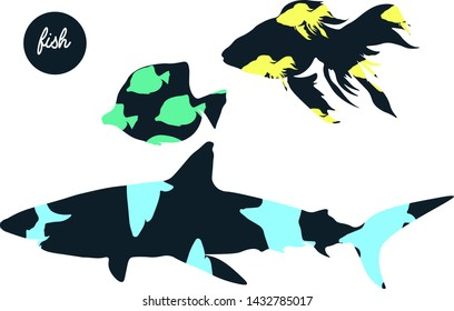 Silhouettes with pattern. Shark, zebrasoma, goldfish. Vector illustration. Creative design to invitations card, textile,  wallpaper and other.