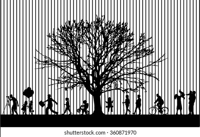 Silhouettes of people active.