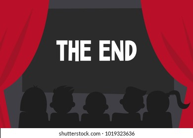 Silhouettes of people from the back watching a film. The end of the movie. Cinema conceptual illustration. Editable vector, clip art