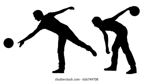 silhouettes of people bowling isolated