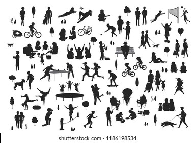 silhouettes of people in the city park outdoor scenes set, men women children make sport, walk, jogging, riding bike, at picnic, relaxing, celebrating playing