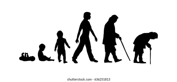 Silhouettes of people. The cycle of life. Vector.